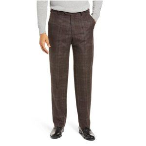 Berle Pleated Classic Fit Plaid Wool Trousers 34